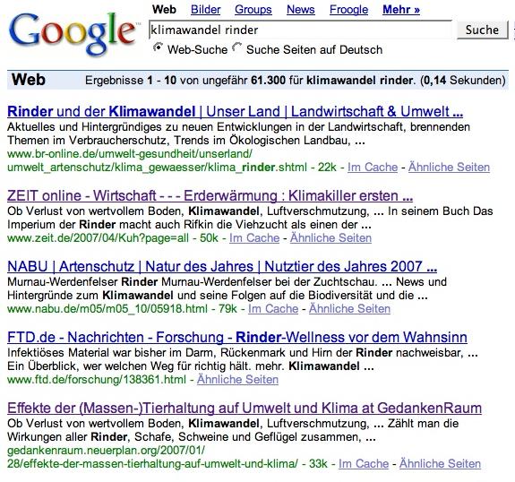 Google Klimawandel Rinder